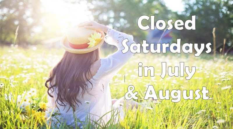 The Library will be closed on Saturdays during the summer
